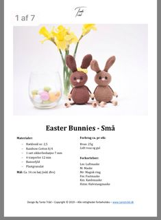 Easter Crochet Patterns, Crochet Dolls, Easter Bunny, Free Pattern, Knitting, Holiday, Diy, Baby Dolls, Amigurumi