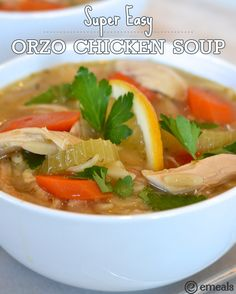 Easy Orzo Chicken Soup: Choose reduced-sodium chicken broth and whole-wheat orzo for less sodium and an added dose of fiber. | eMeals