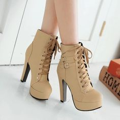 Lace Up Round Toe Platform Stiletto High Heels Short Martin Boots -You can find Platform and more on our website.Lace Up Round Toe Platform Stiletto High Heels. High Heel Pumps, Platform Stilettos, Black High Heels, Pump Shoes, Women's Shoes, Stiletto Heels, Shoe Boots, Lace Shoes, Strappy Shoes