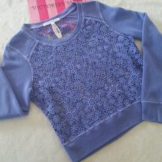 VS Crochet Top New with tags Victoria's Secret long sleeve see through top Lace / crochet body Blue Size small  PRICE IS FIRM | NO TRADES PLEASE Victoria's Secret Tops Blouses