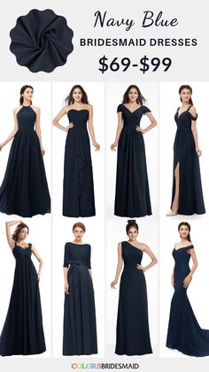 Navy Blue and Grey Winter Wedding Color Inspiration: White bride gown, navy bridesmaid dresses with silver grey scarfs, navy groom suit and grey groomsmen suit, grey table linens and navy napkins… Navy Blue Bridesmaid Dresses, Black Bridesmaids, Wedding Bridesmaid Dresses, Wedding Navy, Rose Wedding, Fall Wedding, Marine Uniform, Marie, Blue Suits
