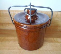Brown Crock Jar Brown Stoneware Crock Stoneware Crock with Lid Clamp Wire Closure