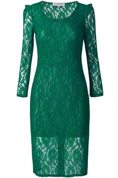 Green Long Sleeve Contrast Sheer Lace Dress Emerald Dresses, Green Lace Dresses, Mint Dress, Dress Up, Play Dress, Green Dress, Pretty Dresses, Short Frocks, Casual Dresses