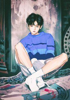 Chanbaek Fanart, Baekhyun Fanart, Fanart Bts, Baekyeol, Exo Anime, Anime Art, Exo Fan Art, Boy Drawing, Character Art