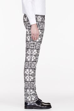 Alexander McQueen - Black & white stained glass trousers