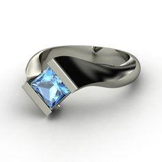 Princess Blue Topaz 14K White Gold Ring  #wedding www.finditforweddings.com