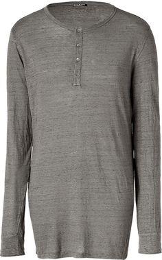 Balmain - Gray Taupe Mélange L/s Linen T-shirt for Men - Lyst Linen Tshirts, Guy Style, Balmain, Taupe, Men Sweater, Man Shop, Mens Fashion, Guys, Long Sleeve
