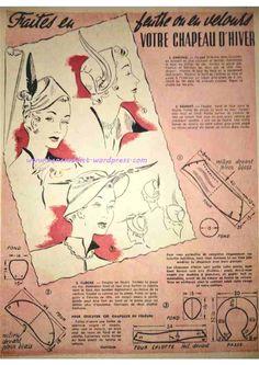 Revue Vintage « Le Petit Echo De La Mode » décembre 1952 avec patrons gratuits tricot, crochet, couture…  Patron couture Bibi , chapeaux