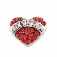 1 PC - 12MM Heart Dance Red Rhinestone Candy Snap Charm Silver Tone ks9629-s CC2743