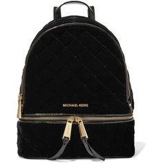 MICHAEL Michael KorsRhea Patent Leather-trimmed Quilted Velvet... ($165) ❤ liked on Polyvore featuring bags, backpacks, backpack, black, daypack bag, knapsack bag, velvet bag, cell phone bag and velvet backpack