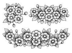 Vector: Set flowers daisy bunch vintage Victorian floral engraved ornament vector frame tattoo black and white border monogram leaf scroll retro pattern decorative design filigree calligraphic heraldic shield Flower Tattoo Designs, Tattoo Designs For Women, Flower Tattoos, Bird Tattoos, Feather Tattoos, Flower Tattoo On Side, Flower Tattoo Shoulder, Border Tattoo, Framed Tattoo