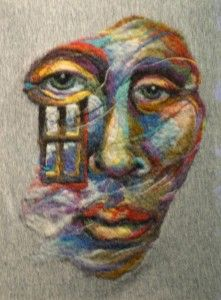 """Look at these breathtaking wool paintings by high school art teacher Kathryn Parenti! This piece is named """"Visitors"""" and was needle felted onto a wet felted pre-felt, then sewn onto a piece of fiber. """"When I paint in fiber I find that the optical blends created are much like the glazes and layers"""