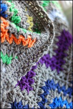 V-stitch crochet ripple blanket, see edging.