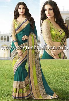 Elegant Teal Green Faux Chiffon And Net Saree