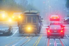 Traffic and Cable Car On California Street In Fog  www.mitchellfunk.com