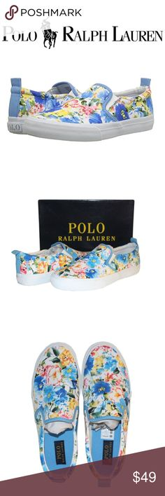 Polo Ralph Lauren Girls Women Sneaker Loafer Shoe ✔Polo Ralph Lauren Kids Carlee Twin Gore Floral Fashion Sneaker/Loafer/Slip-on.  ✔Color: blue, white.   ✔Material: cotton/ Sculpted rubber rocker bottom outsole.  ✔Size: Youth US 6M, Women's US 7.5-8M (Yes, I personally own the same shoes and I absolutely love them).    ✔Condition: Brand New w/ box, manufacturer packaged and sealed. Slight dent/cosmetic damage on the bottom of the box. Polo by Ralph Lauren Shoes