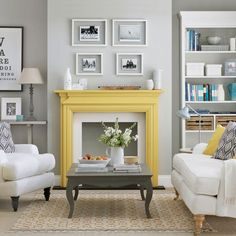 Gray Living Room Painted Fireplace Yellow And