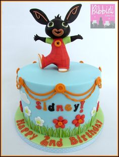 Bing CBeebies birthday childrens cake by Bibbidi Cake Co. Cbeebies Cake, Bunny Birthday Cake, 2nd Birthday, Bing Cake, Bing Bunny, Rabbit Cake, Fondant Cake Toppers, Cake & Co, Party