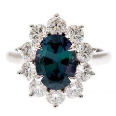 Alexandrite Diamond Platinum Ring