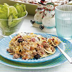 This hearty one-dish meal spaghetti casserole is great for serving a crowd.  You can assemble it a day or two ahead and bake just before serving.