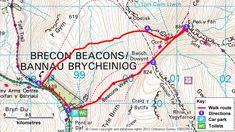 Map route for Pen y Fan and Corn Du circular walk, Brecon Beacons, Wales South Wales Map, Wales Holiday, Walking Holiday, Brecon Beacons, Walking Routes, Hiking With Kids, Adventure Holiday, Over The River, National Trust