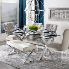 Cerulean Axis , Dining Room Inspiration, visit the web site you LOVE it Elegant Dining Room, Luxury Dining Room, Dining Room Design, Decora Home, Glass Dining Room Table, Dining Room Inspiration, Affordable Home Decor, Home Furnishings, Room Decor