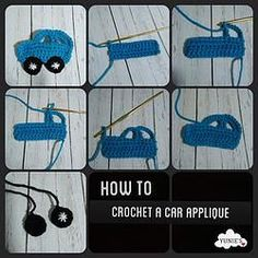 How to crochet a car applique  #crochet #handmade #car