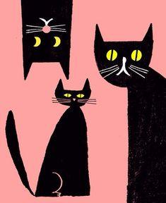 Illustration by Rob Hodgson, black cats.