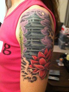 japanese pagoda tattoo designs pagoda tattoo tattoo pinterest japanese. Black Bedroom Furniture Sets. Home Design Ideas