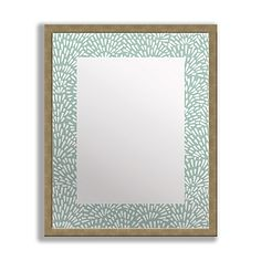 Complement your wall décor with the charming style of the Floral Teal Framed & Printed Mirror Art. This unique mirror features a chic patterned border in teal and a wooden frame for a touch of grace, perfect for any entryway or hallway.