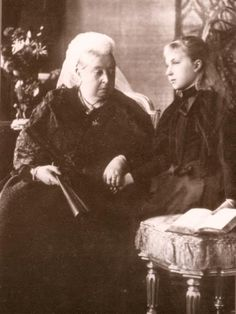 Princess Ena of Battenberg and her grandmother Queen Victoria in mourning for Ena's father. Ena would later become Queen of Spain.