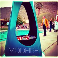 ...But does it come in blue? Yes, and it's a stunner...1650.00 ModFire.com #modern #modfire #outdoor #inc#outdoorfireplace #midcentury #azure#poolside#design