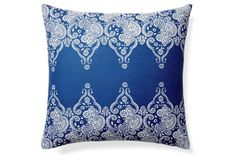 Monterey 20x20 Cotton Pillow, Blue - love the print. Could do something similar with a stencil