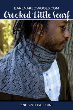 A lightweight unisex lace scarf in two sizes (S/L), featuring an allover zigzag motif for textural contrast (shown in size L). Delicate and airy in fine yarn, this scarf could also be knit on larger needles with heavier yarn for extra warmth with a bolder look. The easy to knit pattern with wrong-side rest rows makes an excellent first lace project and a great traveling companion. Lace Knitting Patterns, Lace Scarf, Stockinette, The Row, Contrast, Unisex, Needle Tatting Patterns, Crochet Neck Warmer