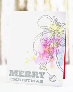 Our Change of Art: watercolor Christmas card | Love the gray ink and the soft colors