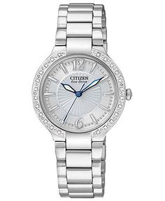 Citizen Watch, Women's Eco-Drive Firenza Diamond Accent Stainless Steel Bracelet 25mm EP5970-57A - Women's Watches - Jewelry & Watches - Mac...