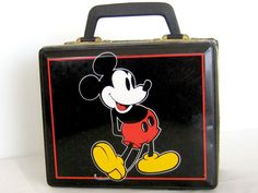 This stylish little lunch box is an original Disney container produced in England from Hudsons- Scott & Sons Ltd. The box presents the famous Mickey Tin Lunch Boxes, Vintage Lunch Boxes, Vintage Mickey Mouse, Mickey Minnie Mouse, Disney Lunch Box, Mickey Mouse Kitchen, Little Lunch, Cookie Jars, Tins