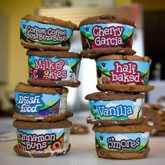 No spoon? No problem! Turn your Ben  Jerry's pint into an ice cream sandwich! 1. Cut your pint into four parts 2. Place each slice between 2 cookies of your choice. 3. Enjoy with friends!