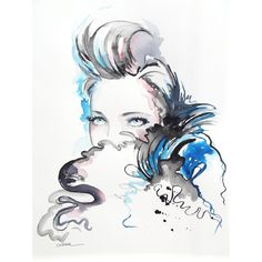 Original Watercolor Chanel Fashion Illustration by LanasArt ($45) ❤ liked on Polyvore