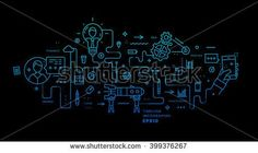 Flat Style, Thin Line Art Design. Set of application development, web site coding, information and mobile technologies vector icons and elements for landing page. Modern concept vectors collection.