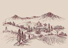 Pobieraj - Szkic winnicy. Projekt etykiety win. Wiejski krajobraz rysunek — Ilustracja stockowa #118518794