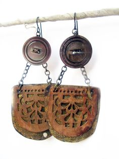 Let Yourself Fall Rustic Assemblage Earrings by fancifuldevices, $30.00