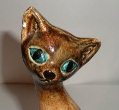 Vintage Ceramic Cat Figurine Tall Big Blue Eyed by carriesattic BAKER'S RACK ETSY
