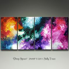 Commissioned Original Painting after Deep Space, 24x48 inch Abstract 4 canvas painting by Sally Trace. $325.00, via Etsy.