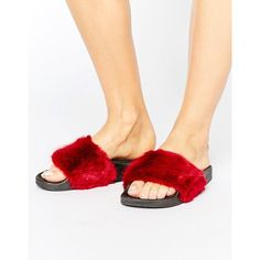 Truffle Fur Slider Sandal (740 THB) ❤ liked on Polyvore featuring shoes, sandals, red, pull on shoes, fur shoes, red sandals, slip on sandals and slip on shoes