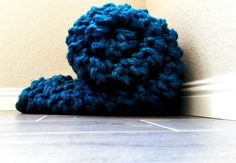 Soft Arm Knit Blanket Chunky Knit Throw in Teal-Blue by TheSnugglery