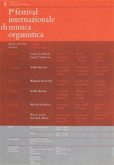 Bruno Monguzzi tenured at Studio Boggeri. Poster 10 festival internazioinale di musica organistica / 210 x 290 mm