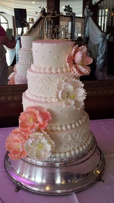 Pink White Tiered Wedding Cake With Peony Flowers By Tasty Layers Custom Cakes