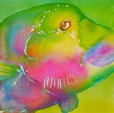 "Rainbow watercolor 7.5"" x 7.5"" 2014"