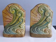 PAIR COMPTON ART POTTERY BOOKENDS . ART DECO ARTS AND CRAFTS